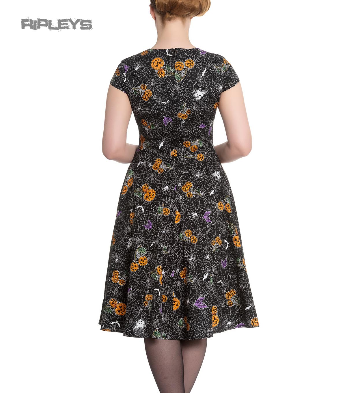 Hell-Bunny-Black-Pinup-50s-Goth-Webs-Dress-HARLOW-Halloween-All-Sizes thumbnail 16