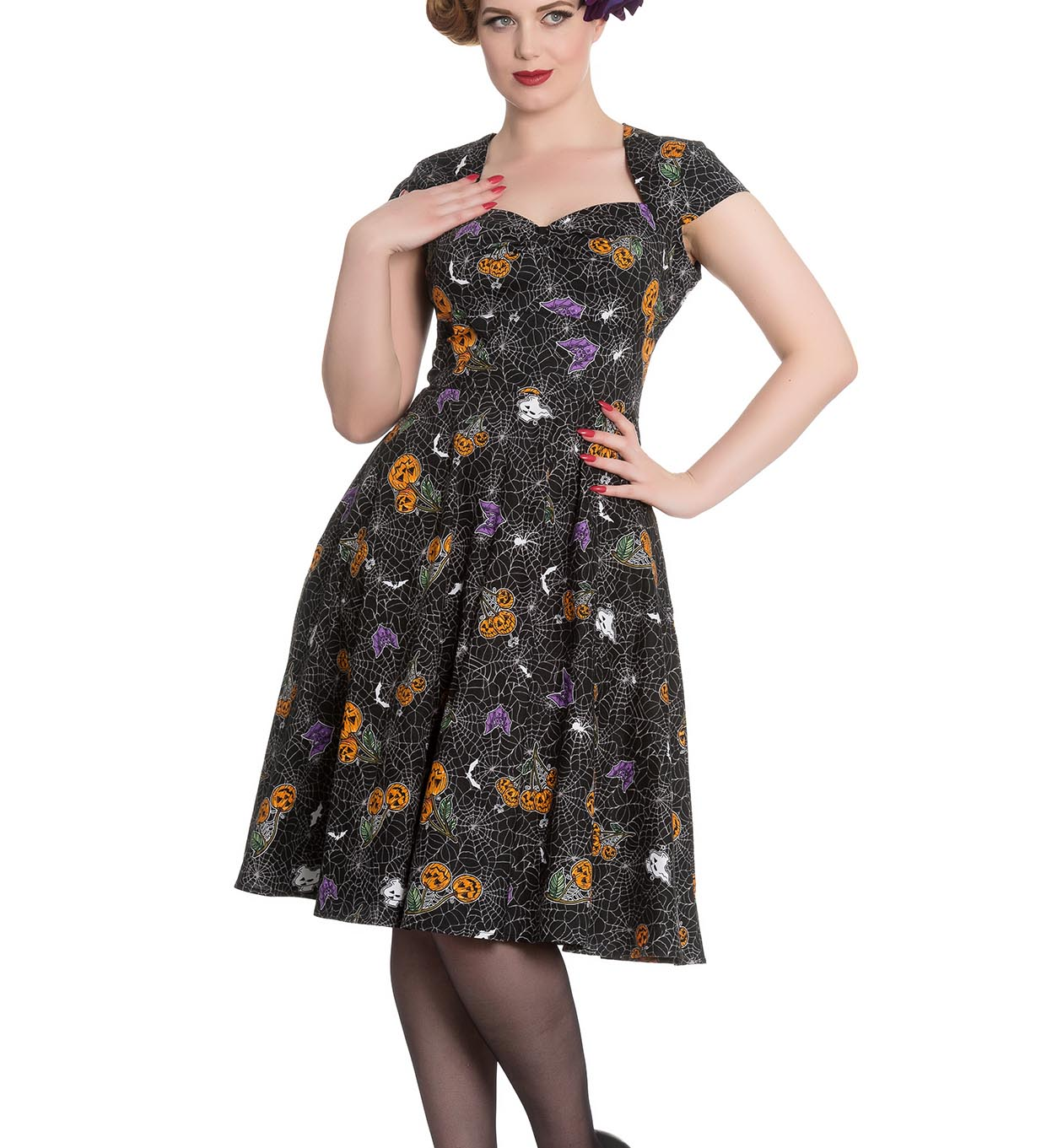 Hell-Bunny-Black-Pinup-50s-Goth-Webs-Dress-HARLOW-Halloween-All-Sizes thumbnail 3