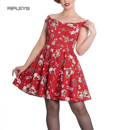 Hell Bunny Rockabilly Festive Noel Christmas Mini Dress BLITZEN Red All Sizes