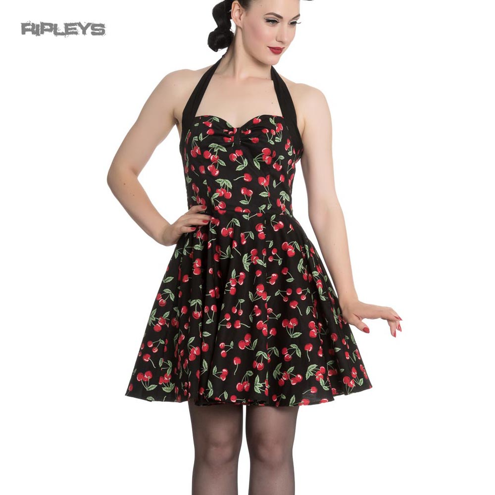 12ebf81e5ad2 Sentinel Hell Bunny Black 50s Rockabilly Retro Mini Dress CHERRY POP  Cherries All Sizes