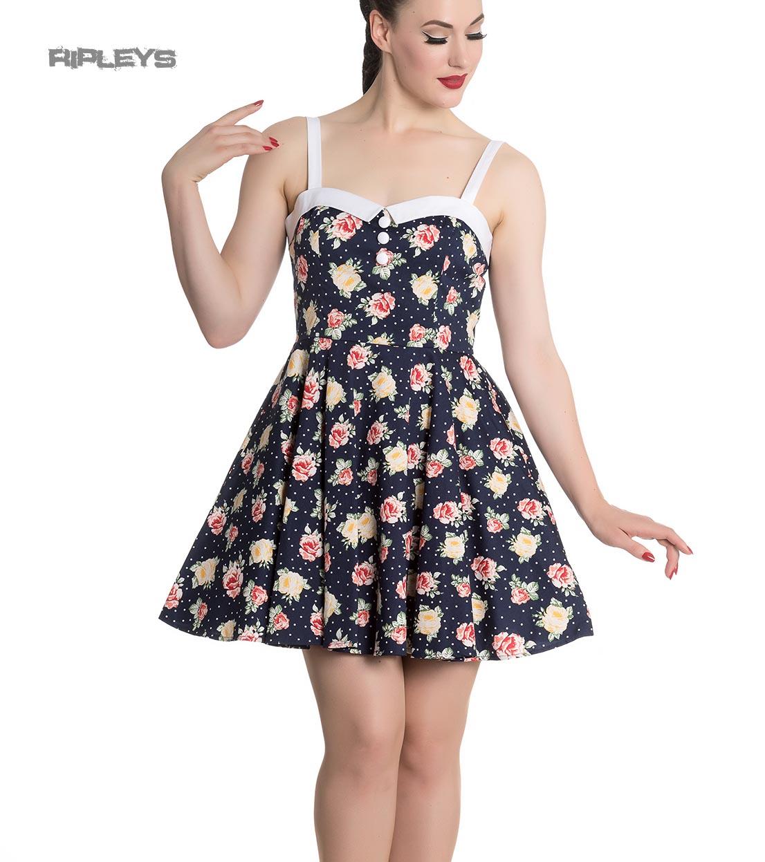 Hell-Bunny-Navy-Blue-Floral-Roses-Flowers-Mini-Dress-EMMA-Polka-Dot-All-Sizes thumbnail 14