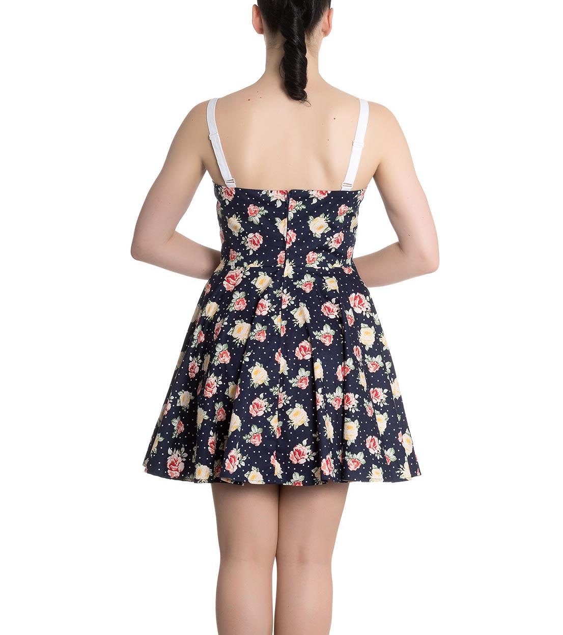 Hell-Bunny-Navy-Blue-Floral-Roses-Flowers-Mini-Dress-EMMA-Polka-Dot-All-Sizes thumbnail 5