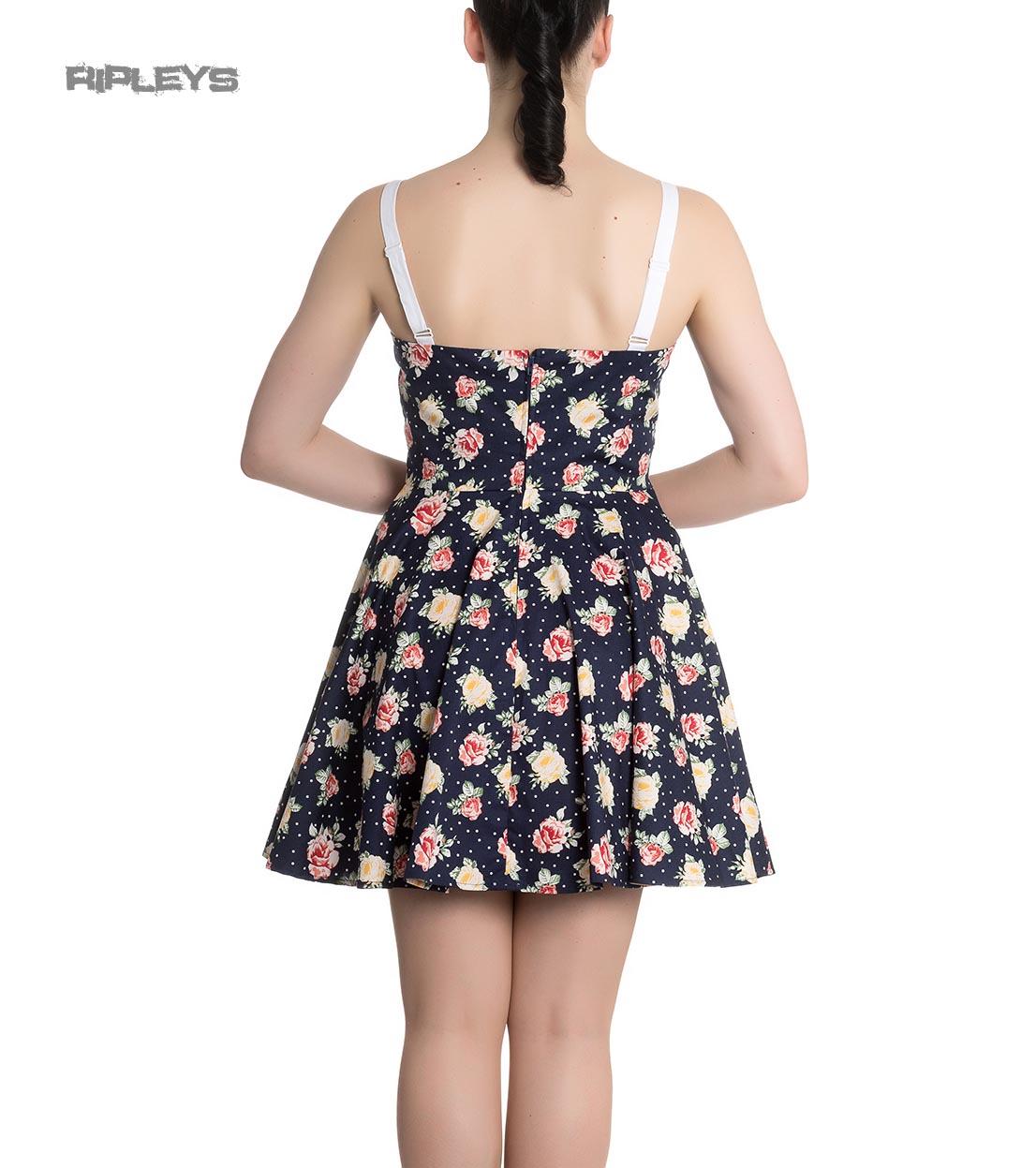 Hell-Bunny-Navy-Blue-Floral-Roses-Flowers-Mini-Dress-EMMA-Polka-Dot-All-Sizes thumbnail 4