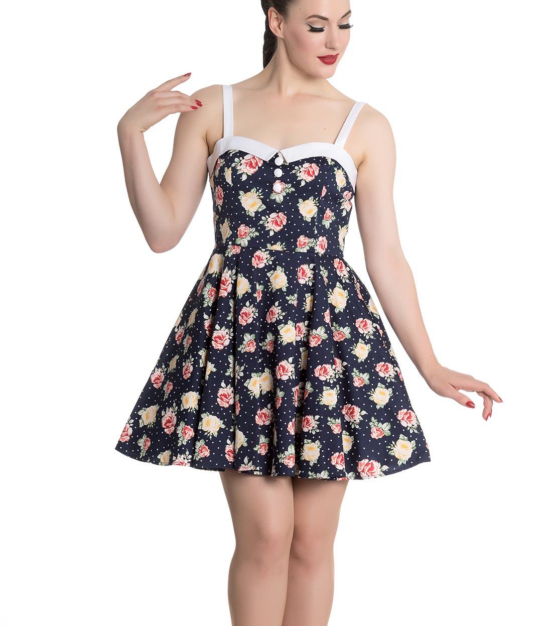 Hell-Bunny-Navy-Blue-Floral-Roses-Flowers-Mini-Dress-EMMA-Polka-Dot-All-Sizes thumbnail 3