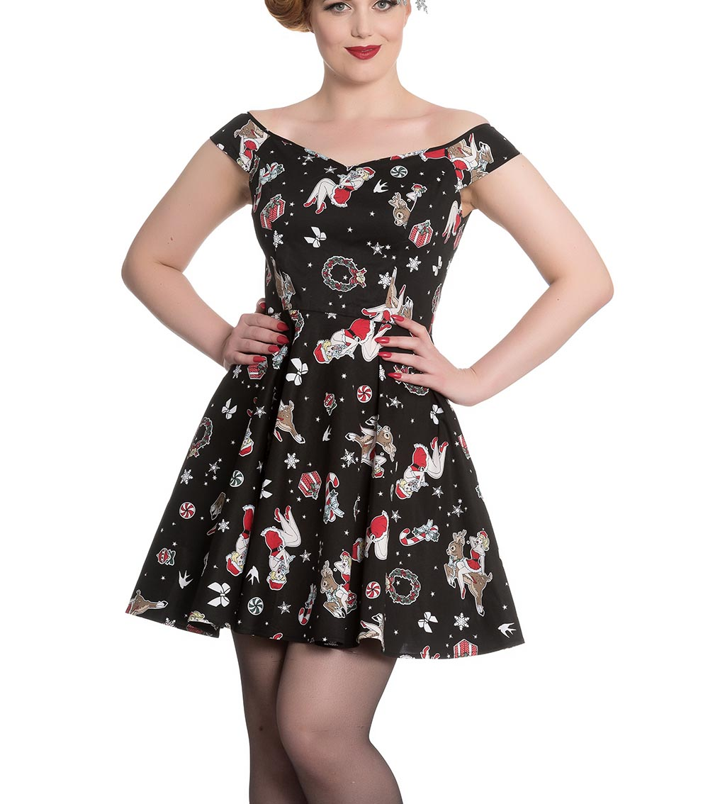 Hell-Bunny-Rockabilly-Festive-Noel-Christmas-Mini-Dress-BLITZEN-Black-All-Sizes thumbnail 3