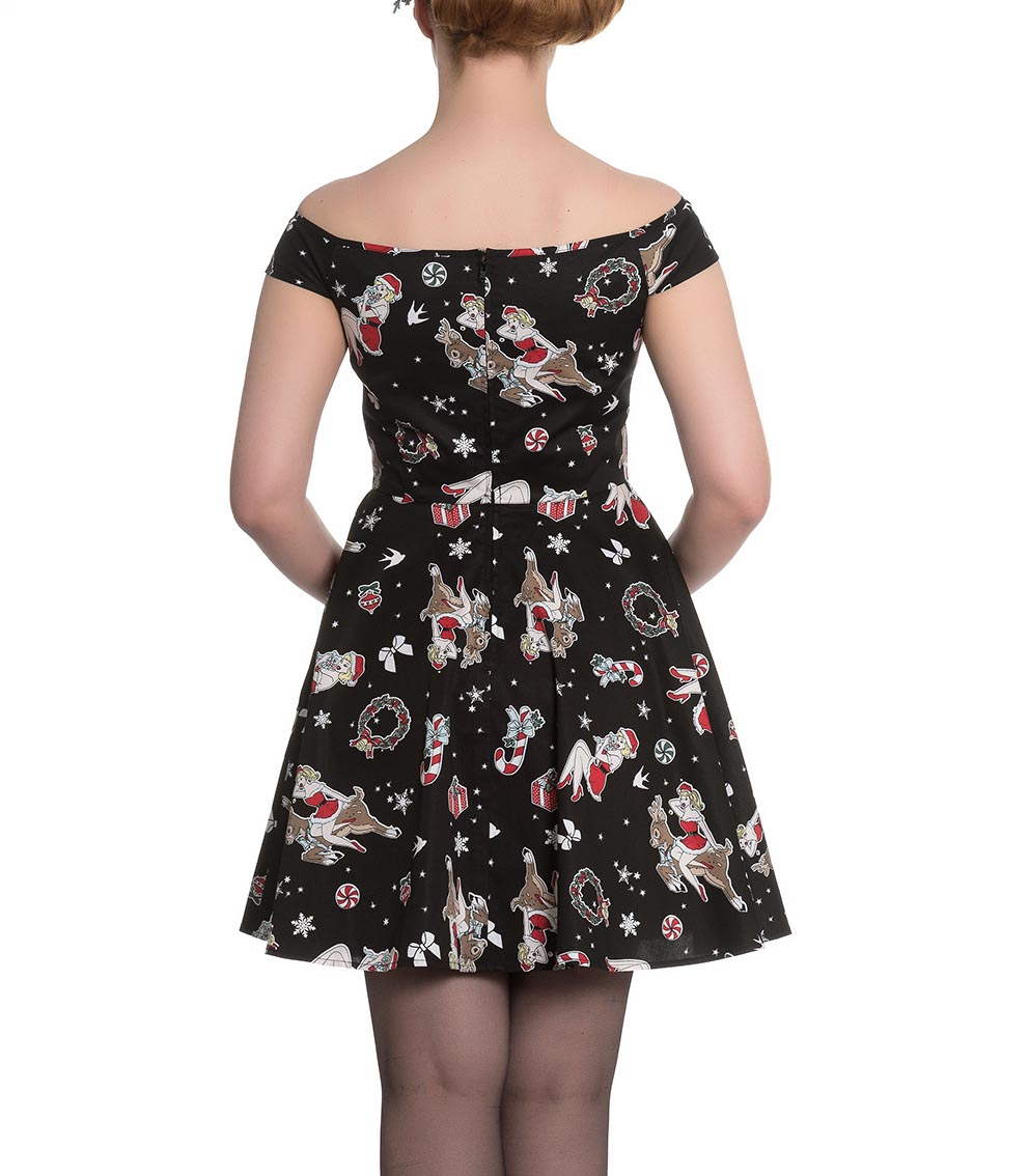Hell-Bunny-Rockabilly-Festive-Noel-Christmas-Mini-Dress-BLITZEN-Black-All-Sizes thumbnail 5