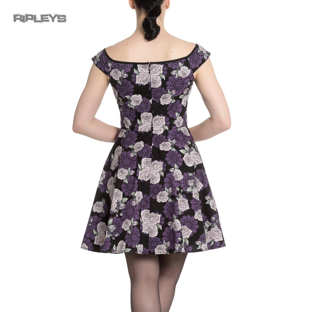Hell-Bunny-Black-Purple-Goth-Pinup-Mini-Dress-ILSA-Roses-Lace-All-Sizes thumbnail 16