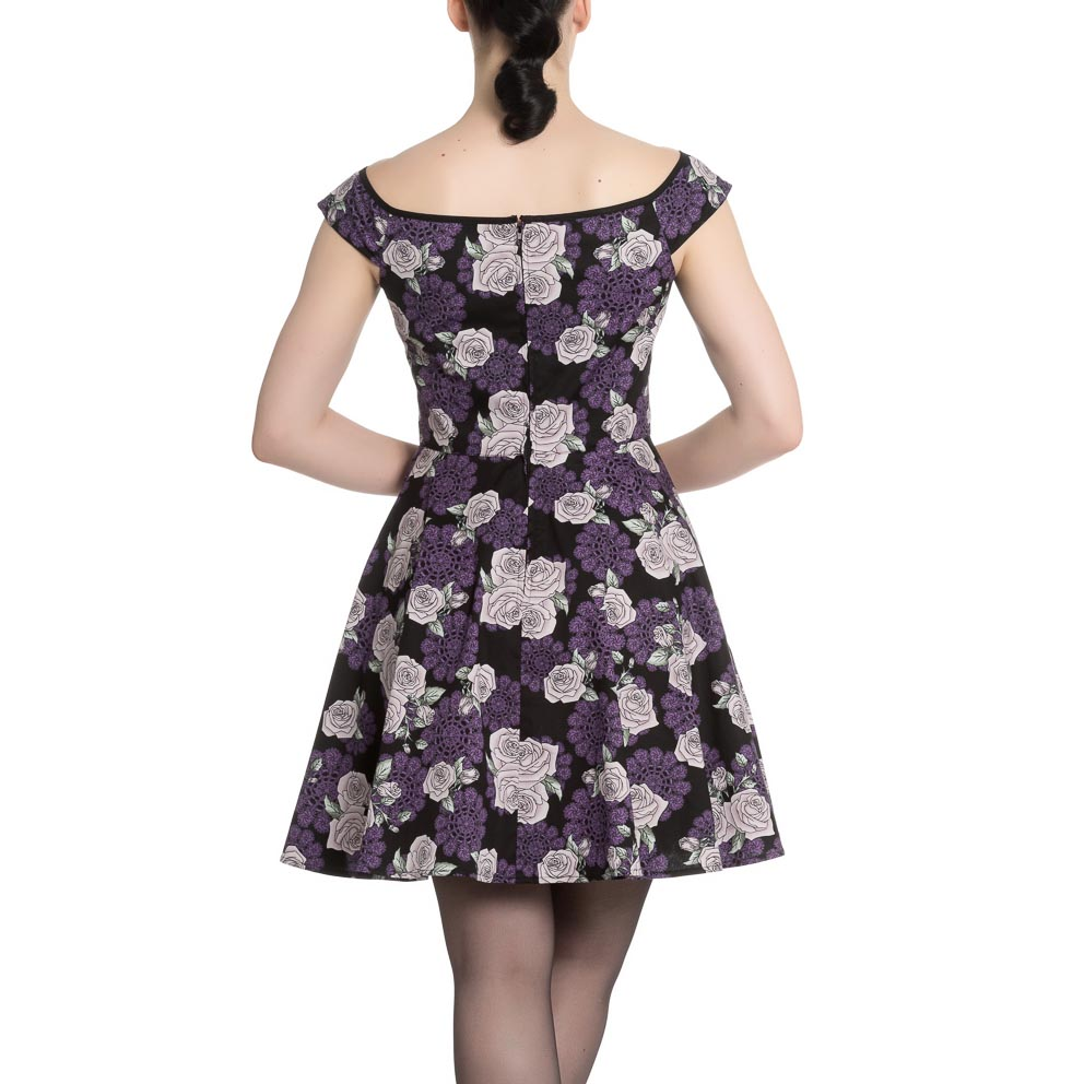 Hell-Bunny-Black-Purple-Goth-Pinup-Mini-Dress-ILSA-Roses-Lace-All-Sizes thumbnail 5