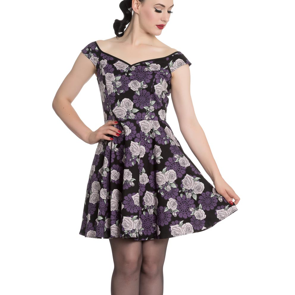 Hell-Bunny-Black-Purple-Goth-Pinup-Mini-Dress-ILSA-Roses-Lace-All-Sizes thumbnail 3