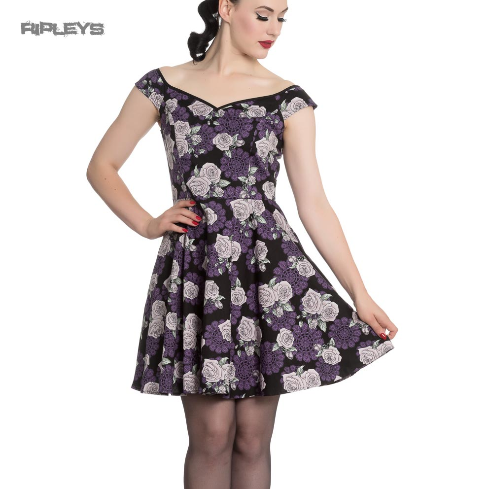 Hell-Bunny-Black-Purple-Goth-Pinup-Mini-Dress-ILSA-Roses-Lace-All-Sizes thumbnail 2