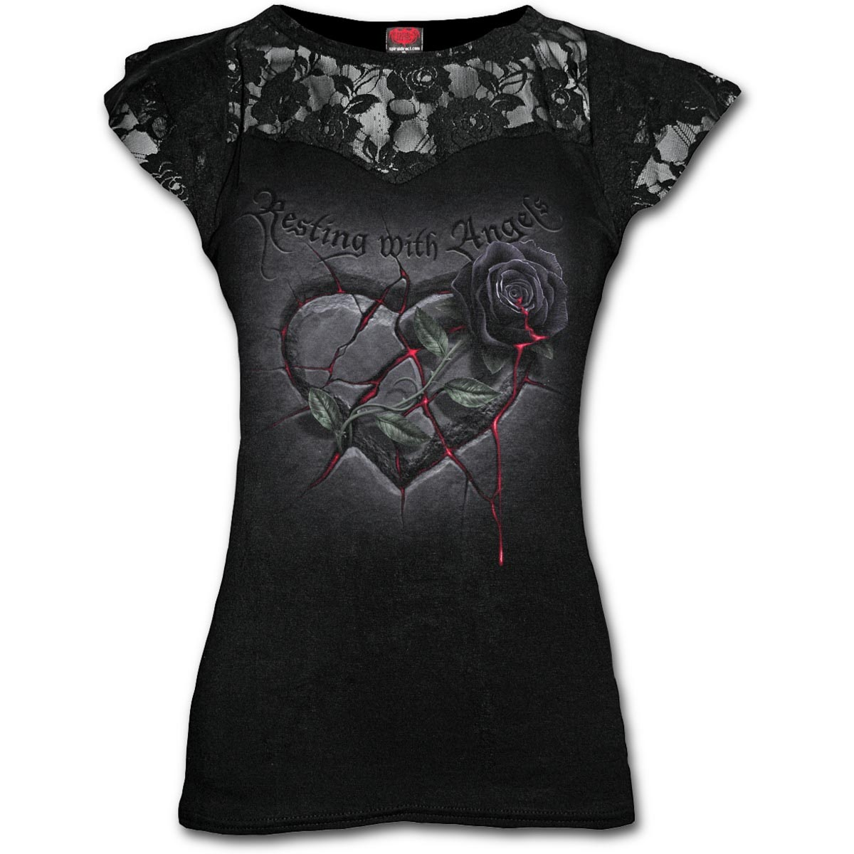 Spiral-Direct-Ladies-Black-Goth-RESTING-With-Angels-Top-Lace-Rose-All-Sizes thumbnail 3