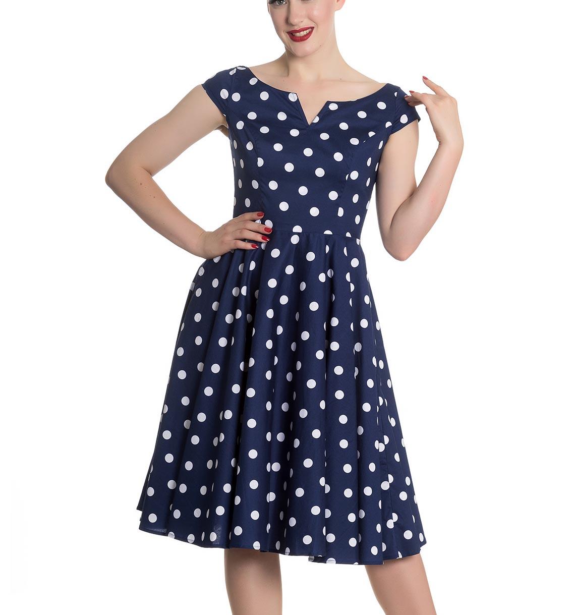 Hell-Bunny-50s-Dress-Polka-Dot-NICKY-Pin-Up-Rockabilly-Navy-Blue-All-Sizes thumbnail 5