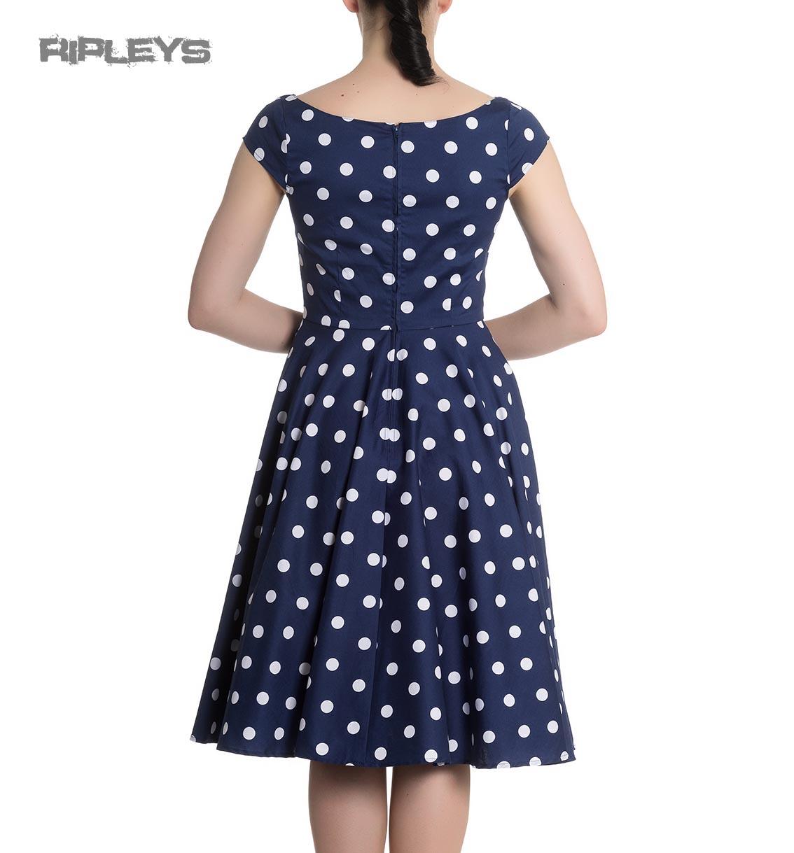 Hell-Bunny-50s-Dress-Polka-Dot-NICKY-Pin-Up-Rockabilly-Navy-Blue-All-Sizes thumbnail 6