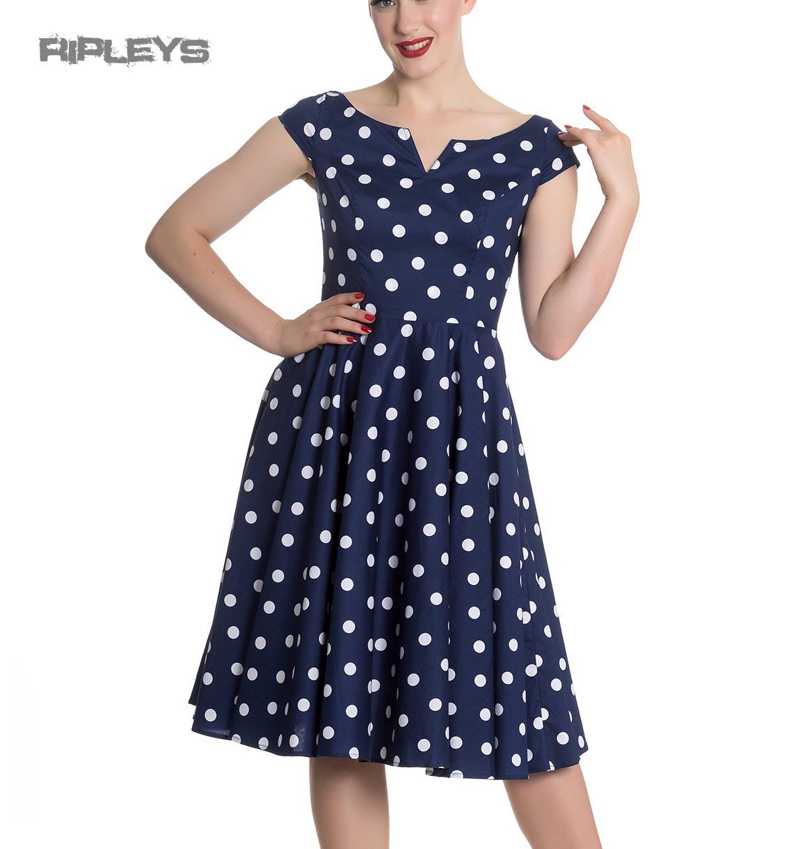 Hell-Bunny-50s-Dress-Polka-Dot-NICKY-Pin-Up-Rockabilly-Navy-Blue-All-Sizes thumbnail 10