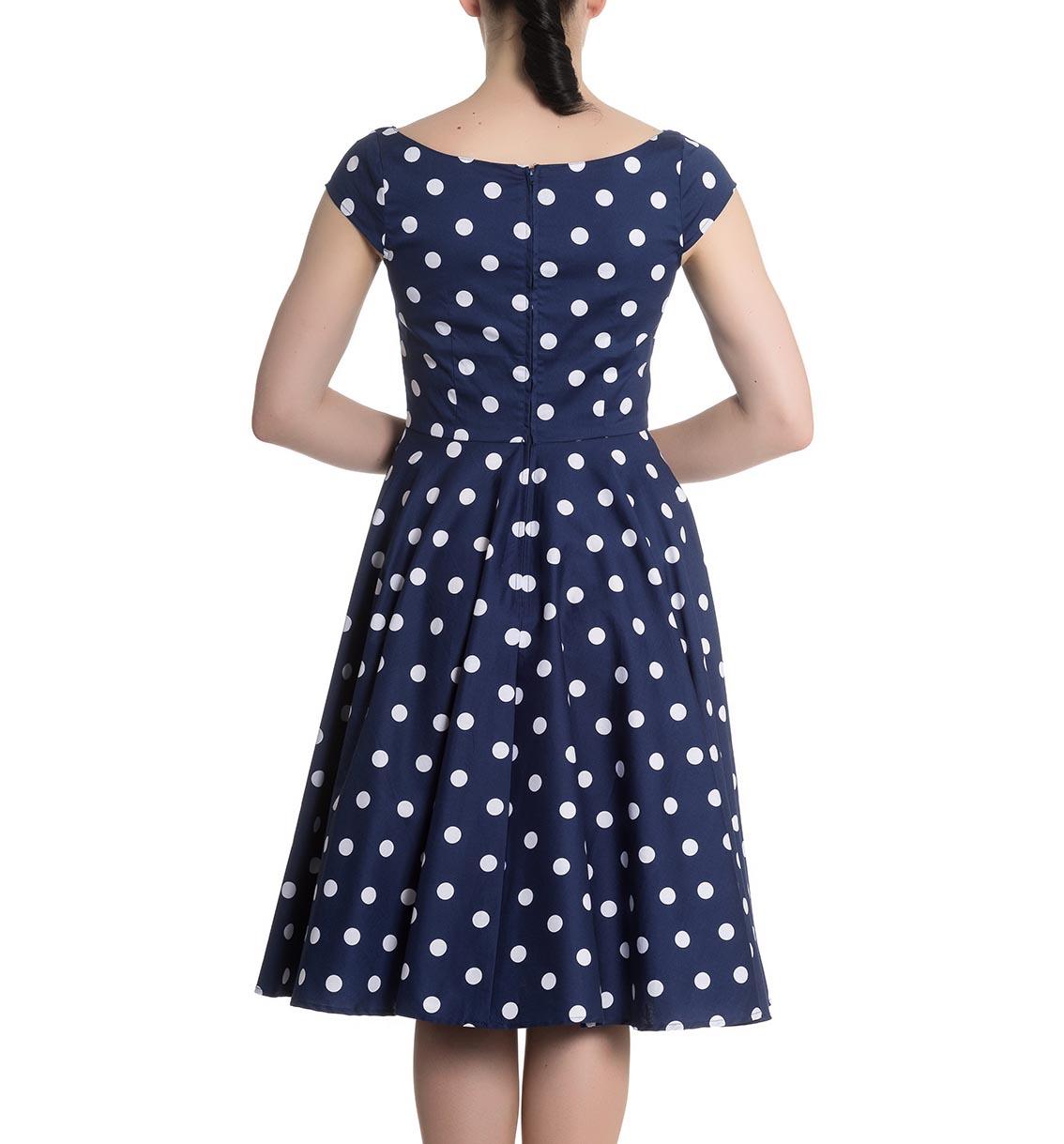 Hell-Bunny-50s-Dress-Polka-Dot-NICKY-Pin-Up-Rockabilly-Navy-Blue-All-Sizes thumbnail 13