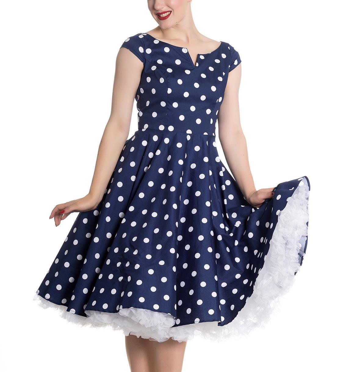 Hell-Bunny-50s-Dress-Polka-Dot-NICKY-Pin-Up-Rockabilly-Navy-Blue-All-Sizes thumbnail 9