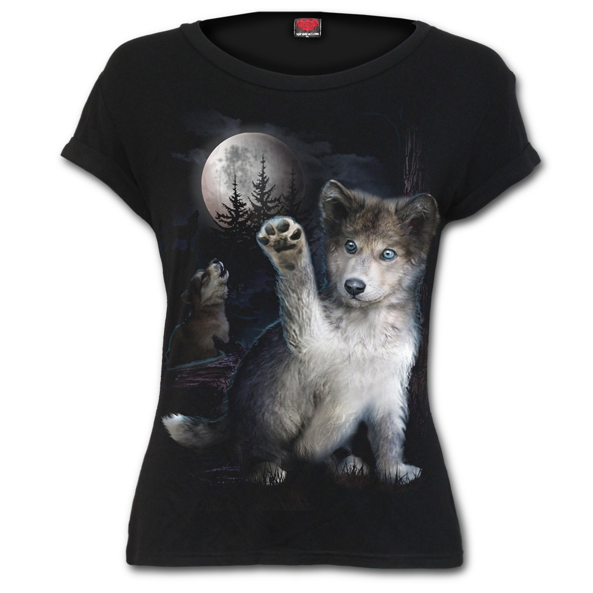 SPIRAL-DIRECT-Ladies-Black-Goth-Moon-WOLF-PUPPY-T-Shirt-Top-All-Sizes thumbnail 3