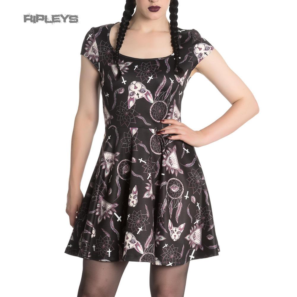 46ec08d7ce8 HELL BUNNY Spin Dr Gothic Black Mini Dress JAS Skater Dreamcatcher All Sizes