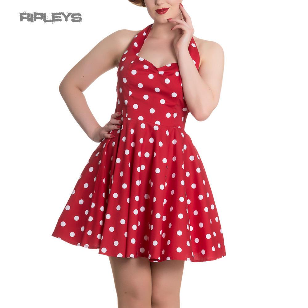 56e60015161b3 Hell Bunny Retro Rockabilly Mini Dress NICKY Polka Dot White Red All Sizes