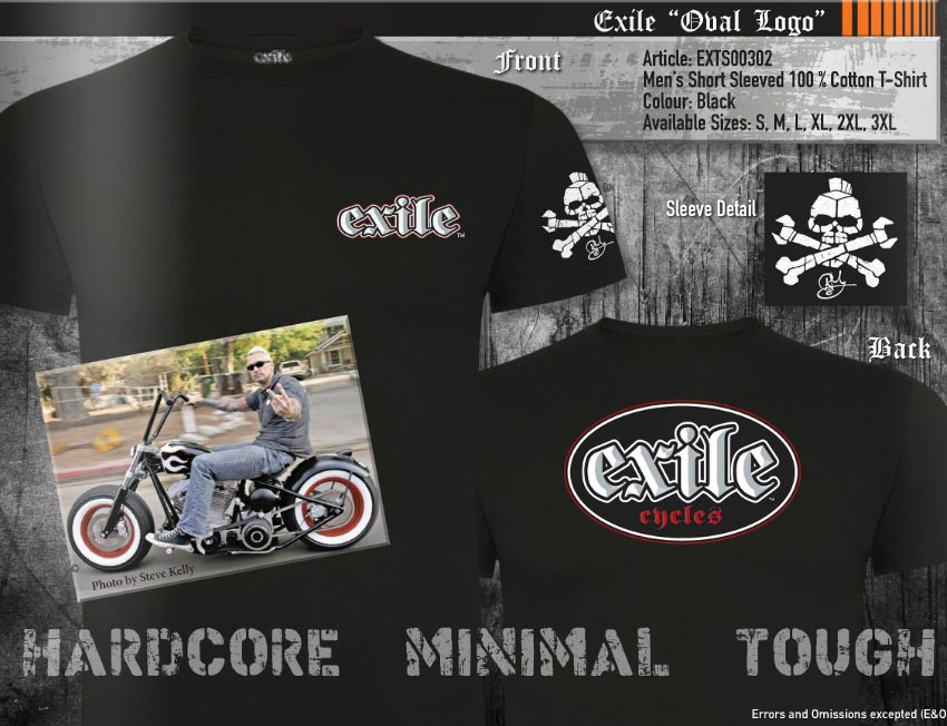 Oval Logo Mens Official Exile Cycles T-Shirt Chopper Motorcycle Motorbike Bike