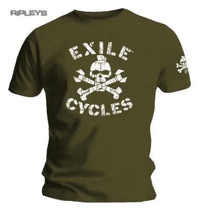 Official T Shirt EXILE CYCLES Custom Motorcycle Chopper MENACE Army Green All Si