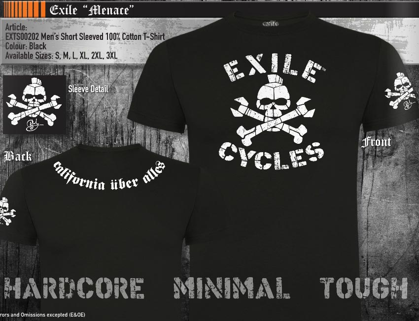 8894f6bca Sentinel Official T Shirt EXILE CYCLES Custom Motorcycle Chopper MENACE  Black All Sizes
