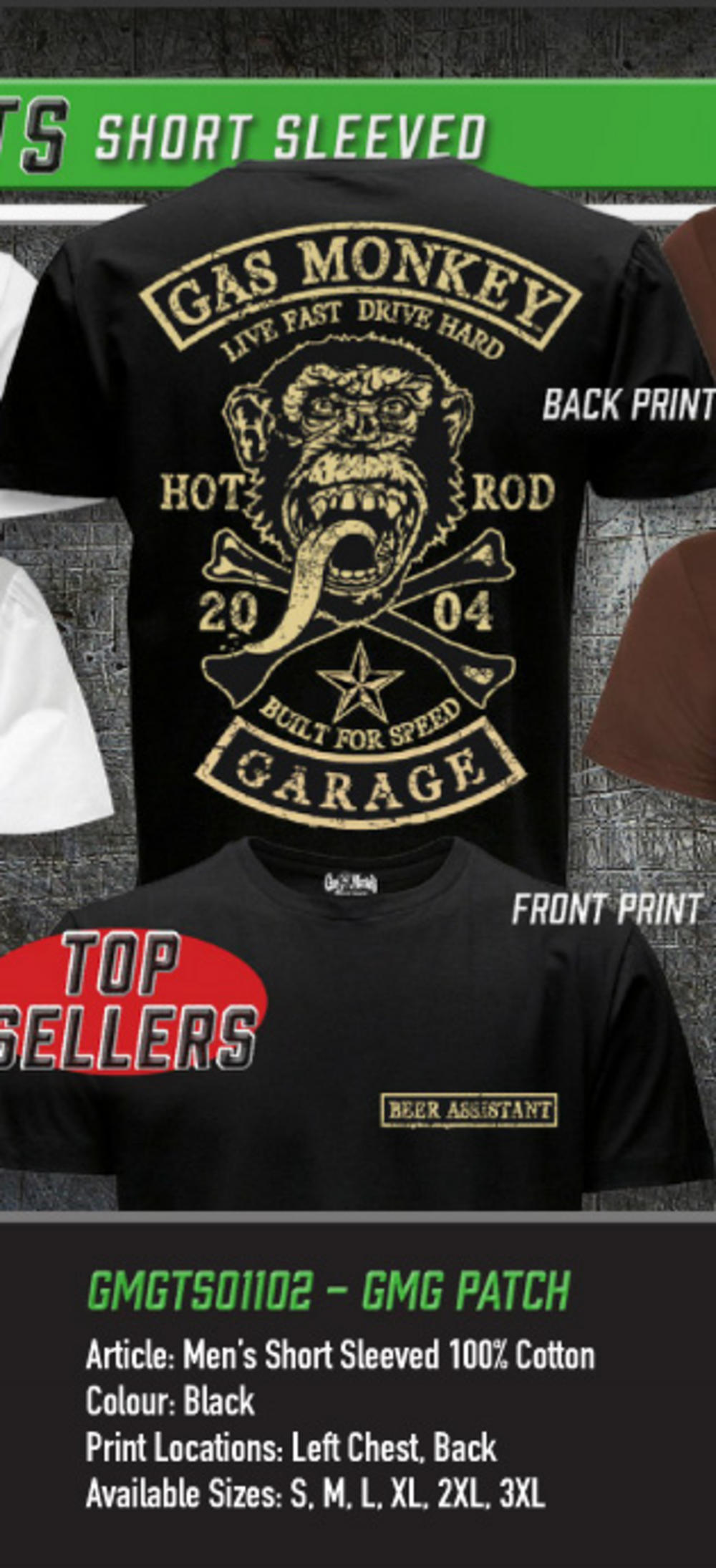 Officially Licensed Gas Monkey Garage Big Patch Women/'s T-Shirt S-XXL Sizes