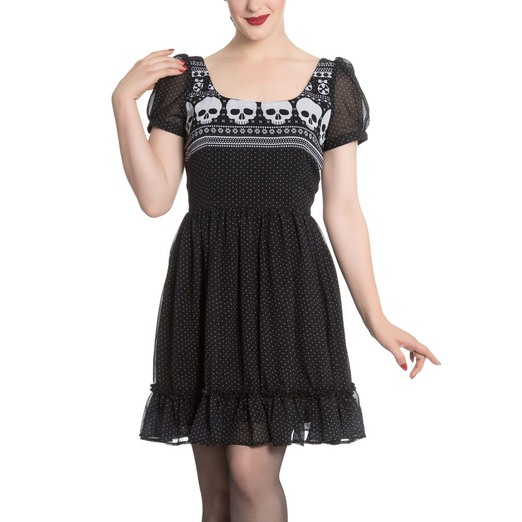 Hell-Bunny-Black-Skull-Polka-Dot-YULE-Mini-Dress-Christmas-Goth-All-Sizes thumbnail 11