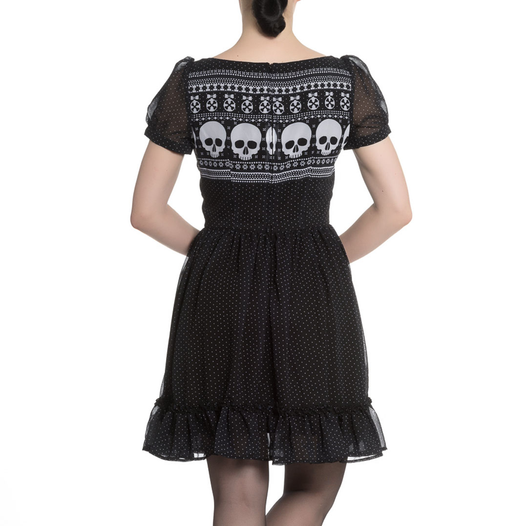 Hell-Bunny-Black-Skull-Polka-Dot-YULE-Mini-Dress-Christmas-Goth-All-Sizes thumbnail 5