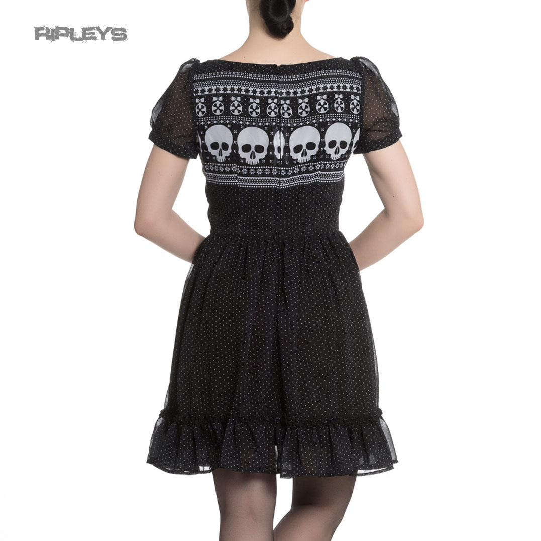 Hell-Bunny-Black-Skull-Polka-Dot-YULE-Mini-Dress-Christmas-Goth-All-Sizes thumbnail 4