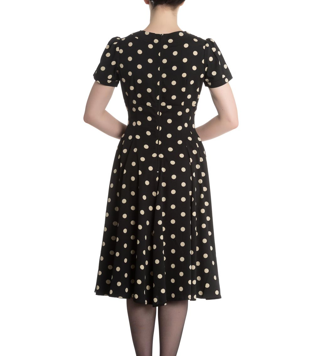 Hell-Bunny-Vintage-Pin-Up-Rockabilly-40s-50s-Black-MADDEN-Polka-Dot-All-Sizes thumbnail 5