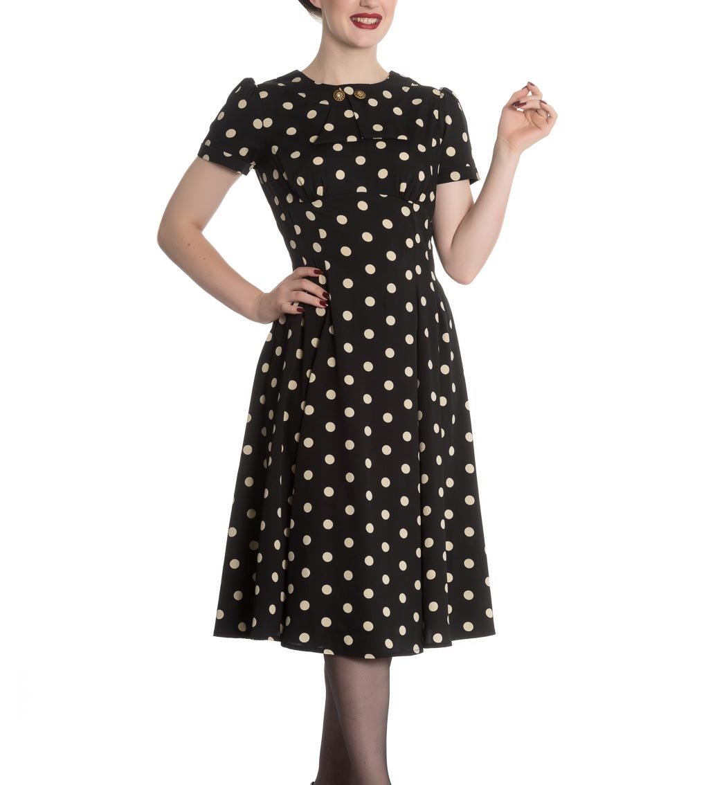 Hell-Bunny-Vintage-Pin-Up-Rockabilly-40s-50s-Black-MADDEN-Polka-Dot-All-Sizes thumbnail 3
