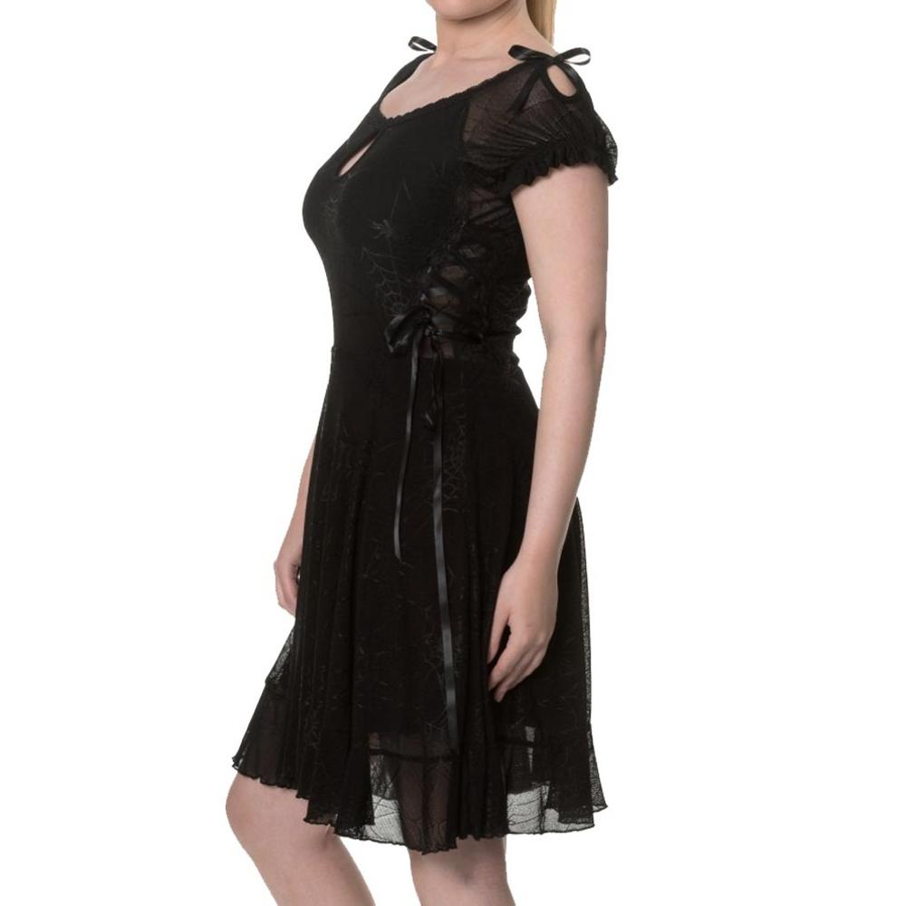 5f2867092cd BANNED Goth Mini Skater Dress PITCH BLACK Spider Webs Lace All Sizes