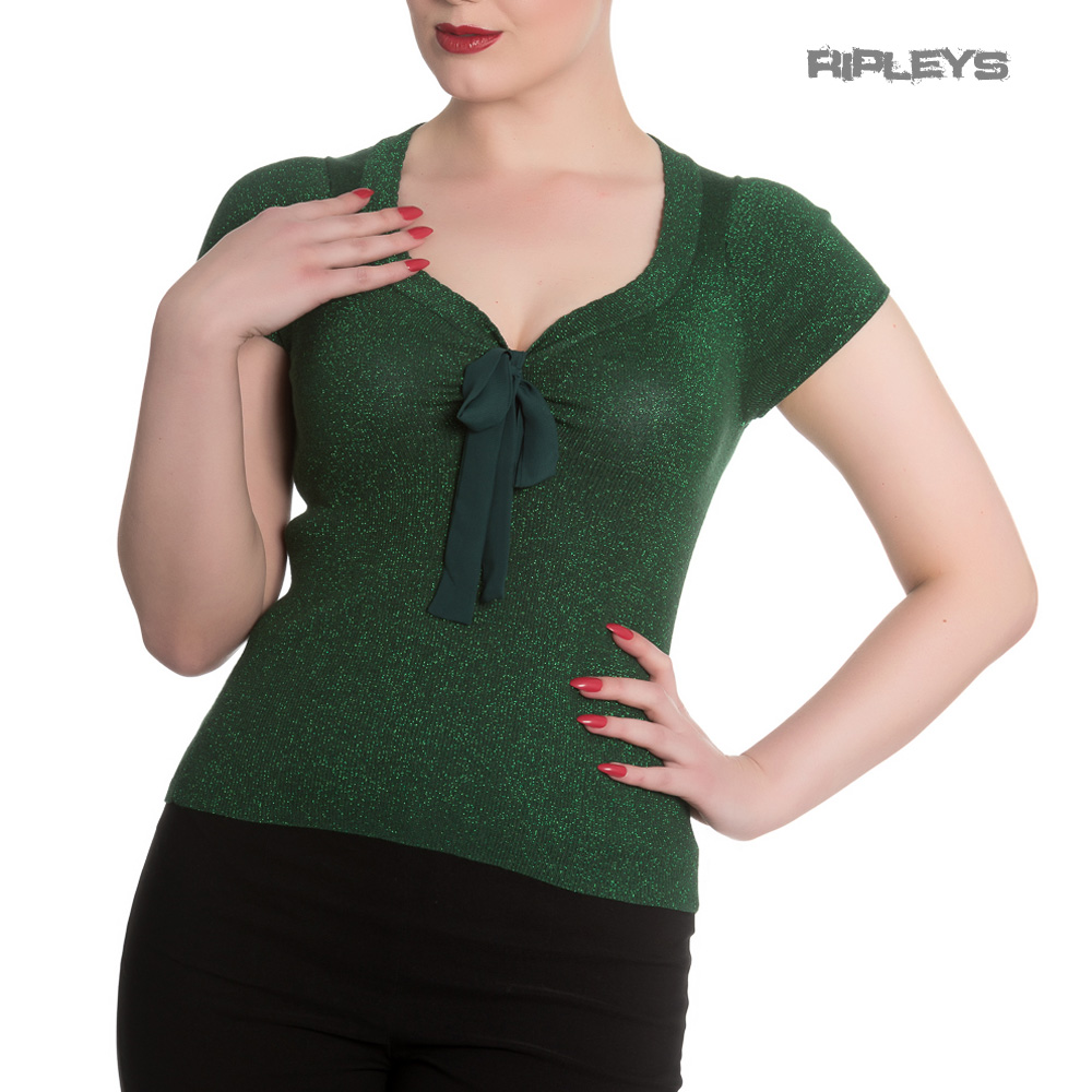 Hell-Bunny-Shirt-Rockabilly-Top-ANGETTE-Shiny-Twinkle-Dark-Green-All-Sizes thumbnail 2