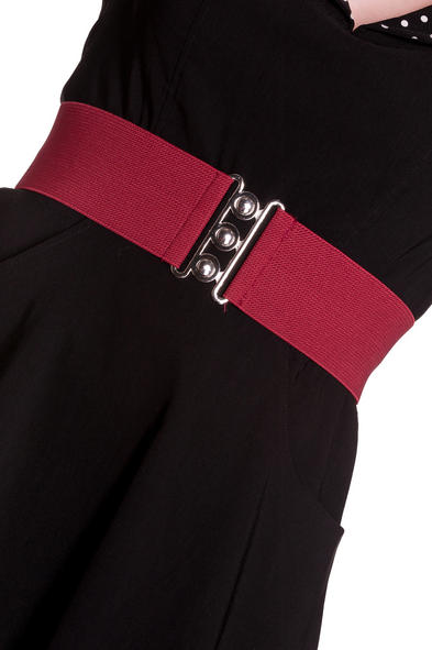 HELL BUNNY Retro 50s Waist BELT Rockabilly Elasticated Burgundy Red All Sizes