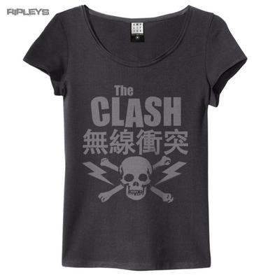 Official Amplified Skinny Vintage T Shirt CLASH Punk Skull Logo All Sizes