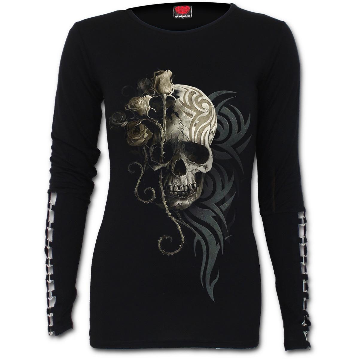 SPIRAL-DIRECT-Ladies-Black-Goth-DARK-ANGEL-Skull-Buckle-L-Sleeve-All-Sizes thumbnail 3