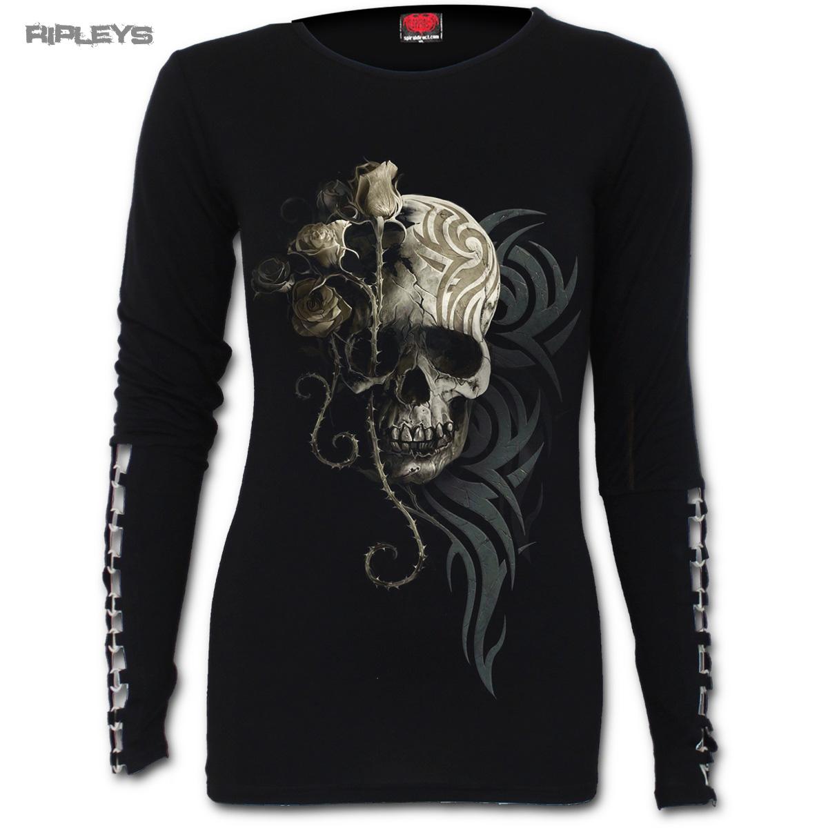 SPIRAL-DIRECT-Ladies-Black-Goth-DARK-ANGEL-Skull-Buckle-L-Sleeve-All-Sizes thumbnail 2