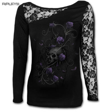 SPIRAL DIRECT Ladies Black Goth ENTWINED Skull Lace Top L/Sleeve All Sizes