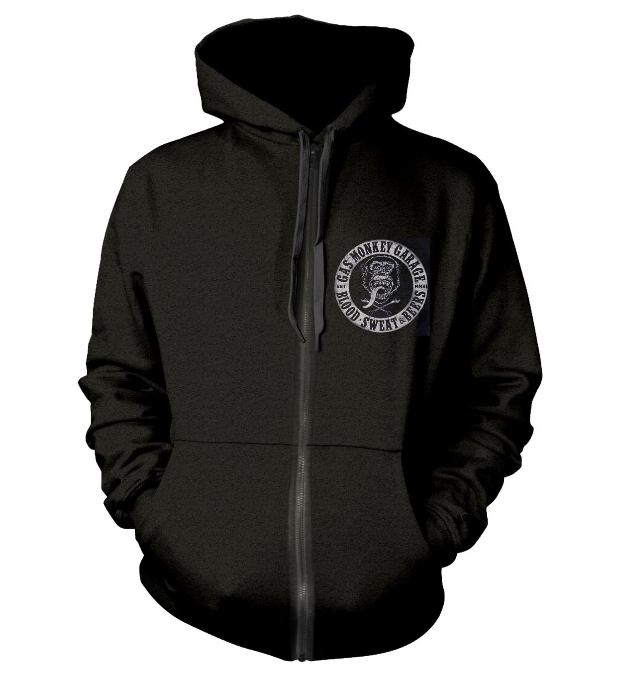 Official-PH-GAS-MONKEY-GARAGE-Hoody-Hoodie-Distressed-LOGO-Zip-All-Sizes thumbnail 3
