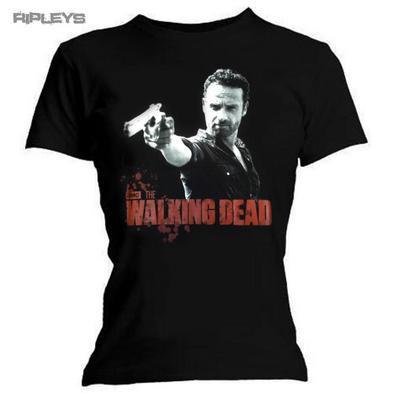 Official Skinny Ladies T Shirt The Walking Dead RICK POSTER Logo All Sizes