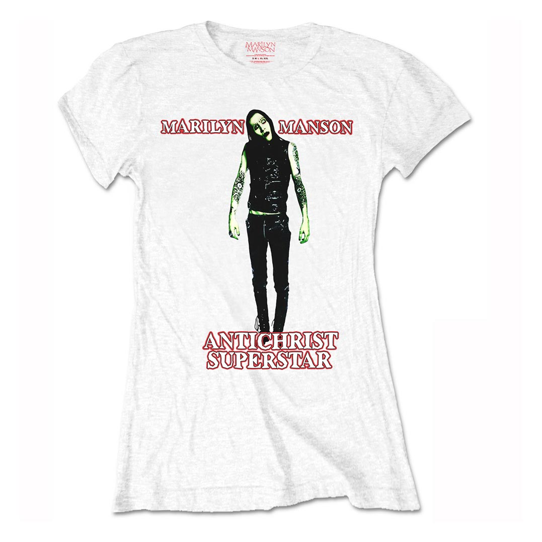 Official-Ladies-Skinny-Marilyn-Manson-Goth-ANTICHRIST-Superstar-White-All-Sizes thumbnail 3
