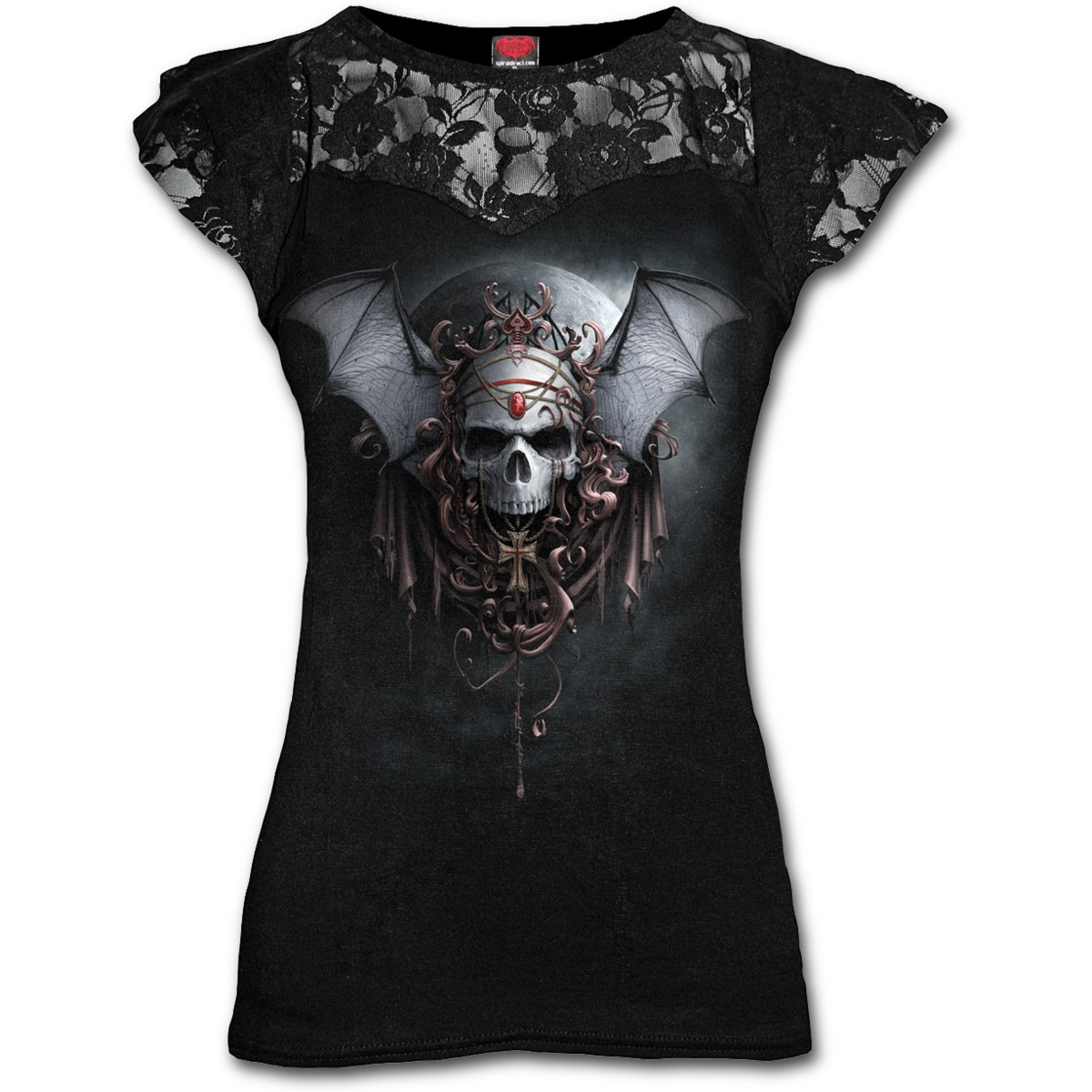 SPIRAL-DIRECT-Ladies-Black-Gothic-GOTH-NIGHTS-Skull-Top-Lace-Bat-All-Sizes thumbnail 7