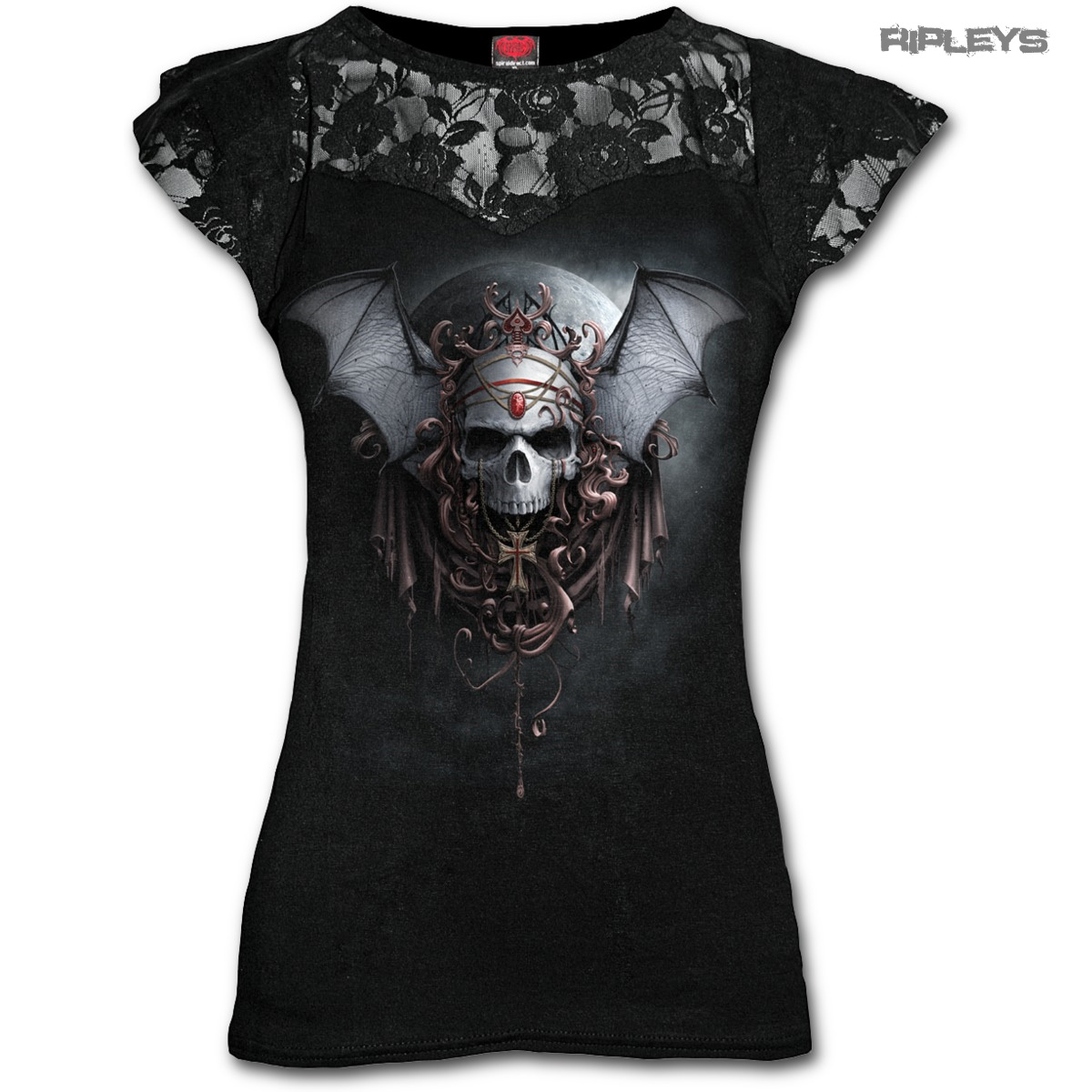 SPIRAL-DIRECT-Ladies-Black-Gothic-GOTH-NIGHTS-Skull-Top-Lace-Bat-All-Sizes thumbnail 6