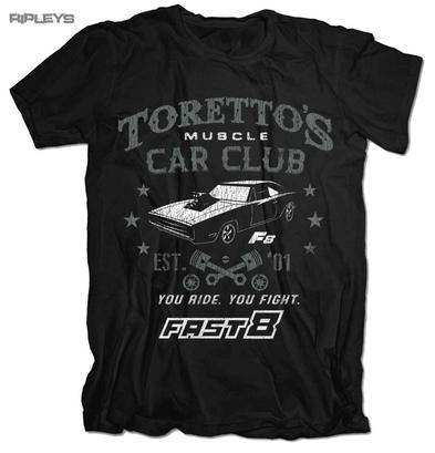 Official T Shirt FAST & FURIOUS 8 Toretto's Muscle Car Club '01 All Sizes