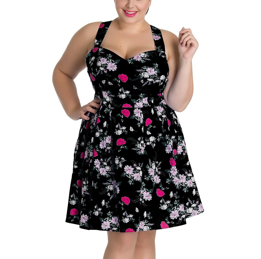 Hell-Bunny-Summer-Mini-Dress-BELINDA-Rose-Floral-Flowers-Black-All-Sizes thumbnail 7