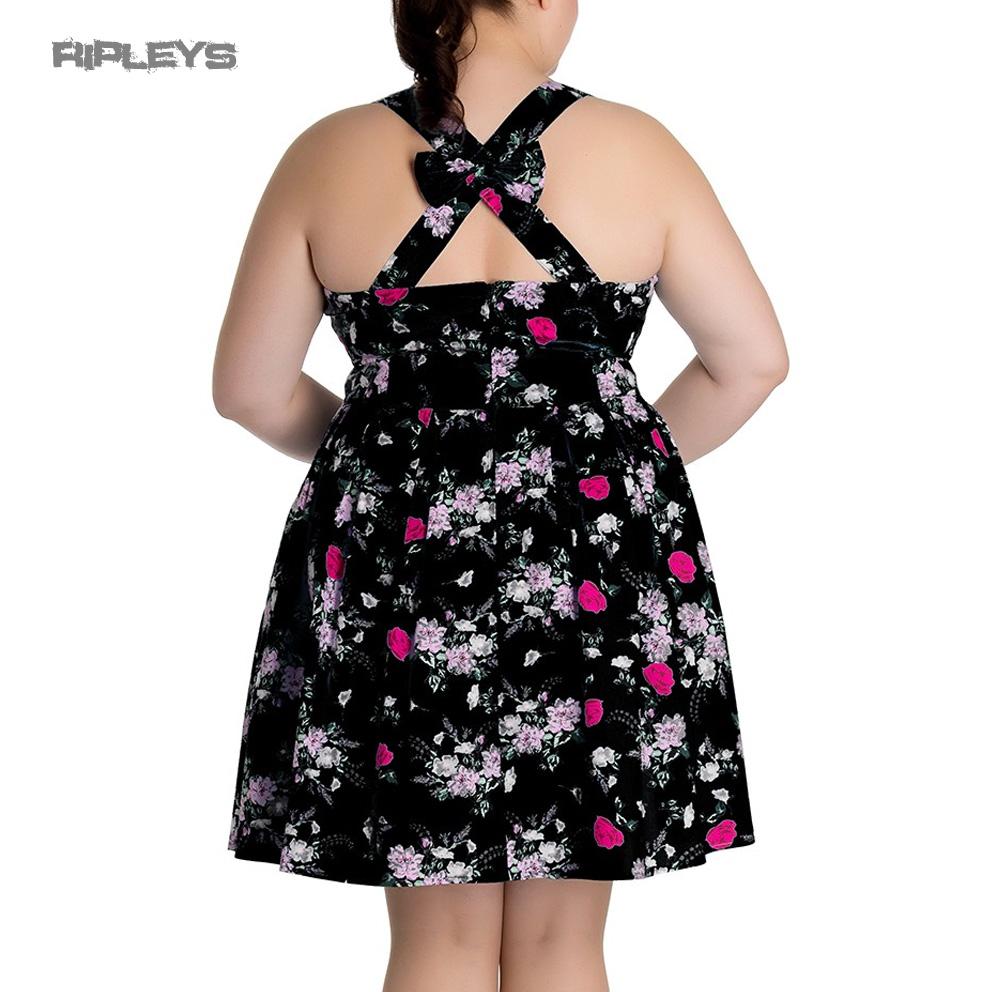 Hell-Bunny-Summer-Mini-Dress-BELINDA-Rose-Floral-Flowers-Black-All-Sizes thumbnail 4