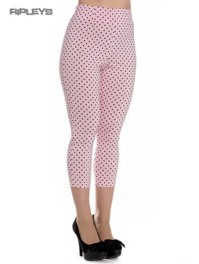 Hell Bunny 50s Pedal Pushers Poka Dots KAY Capris Capri Trousers Pink All Sizes