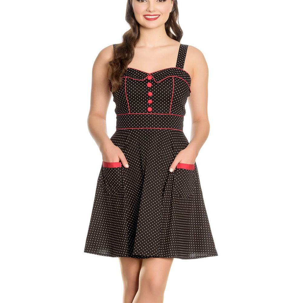 8fb9e06e0497a Sentinel Hell Bunny Rockabilly Mini Dress Pin Up VANITY Polka Dot BLACK Red  All Sizes