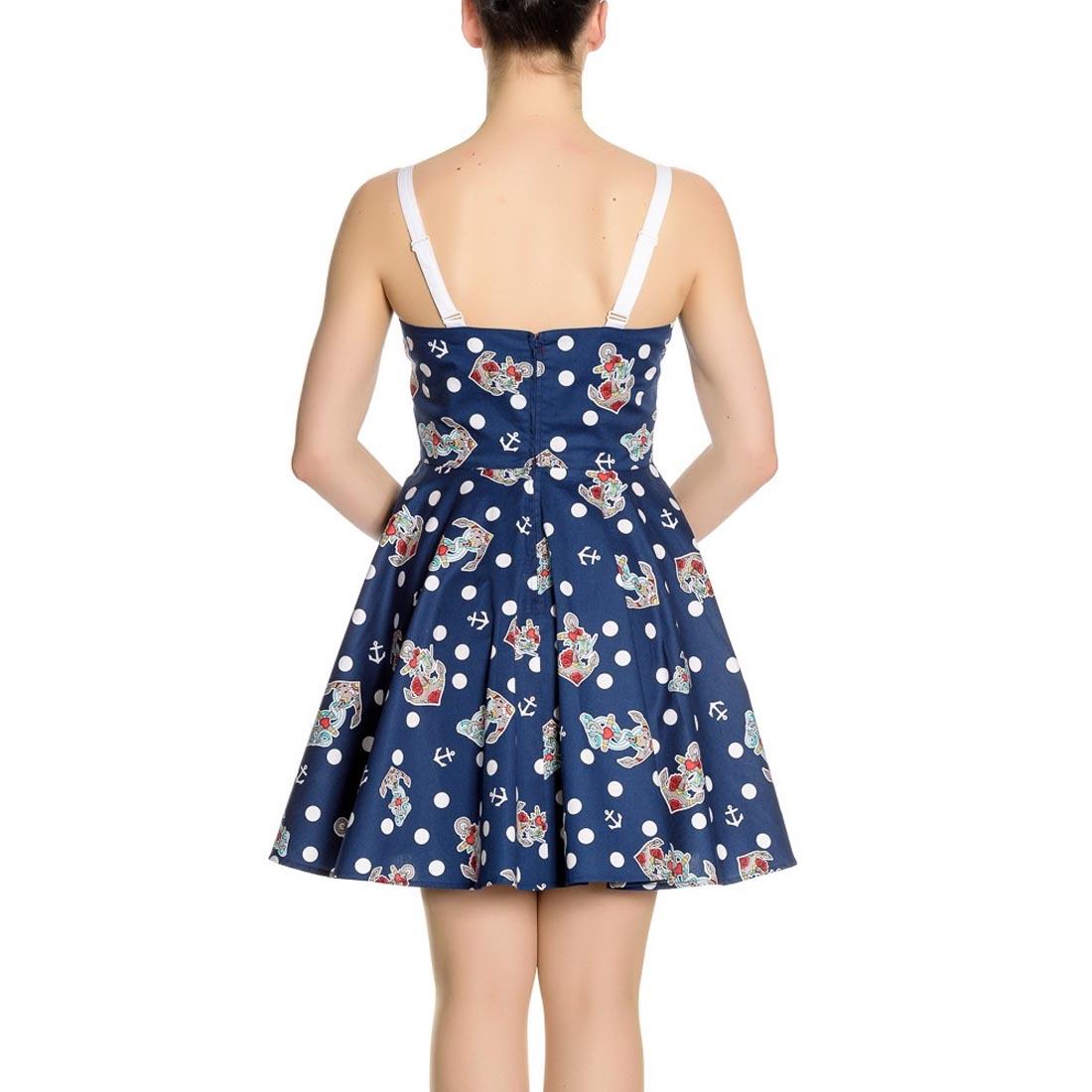 Hell-Bunny-Navy-Blue-50s-Nautical-Mini-Dress-OCEANA-Polka-Dot-All-Sizes thumbnail 9